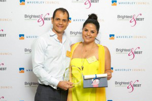 Alex Hart and Sophie Tesoriero celebrating our win at the Waverley Brightest & Best Business Awards 2015